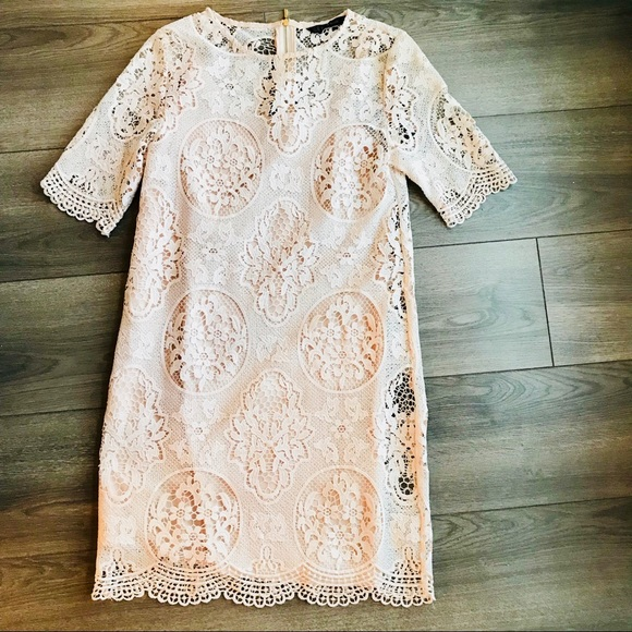 Zara Dresses & Skirts - Zara Basic Nude/Light Pink Lace Dress